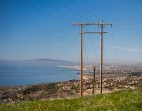 Telephone poles and Newport