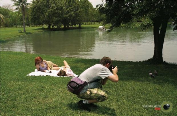 omax-ultra-wide-angle-lens-joke-parody-advertisment-commercial-pigeons-girls-picknic-sunbathing