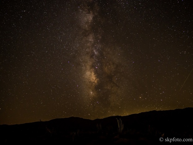 The Milky Way from Borrego Springs, CA (and a Perseids meteor)